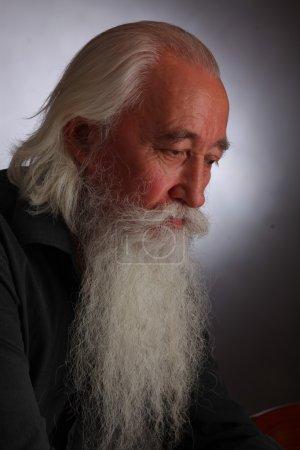 Photo pour Le vieil homme sage avec une barbe grise - image libre de droit