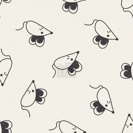 mouse doodle drawing seamless pattern background