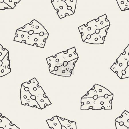 Illustration pour Fromage doodle fond de motif sans couture - image libre de droit