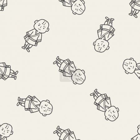 Shaolin doodle seamless pattern background...