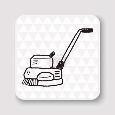 floor buffing machines doodle vector illustration