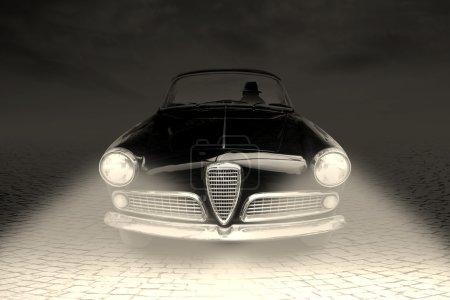 Mafia gangster driving black car in the night