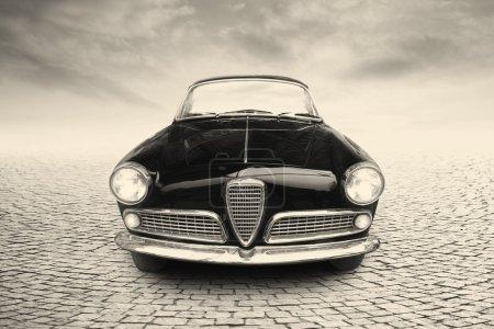 Black vintage car on the street