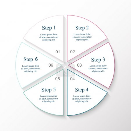 Illustration for Circle line infographic. Template for cycle diagram, graph, presentation and round chart. Business concept with 6 options, parts, steps or processes. - Royalty Free Image