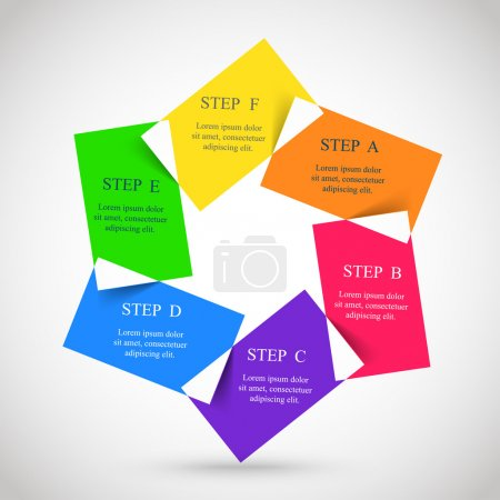 Illustration for Template for diagram, graph, presentation and chart. Business concept with 6 options, parts, steps or processes. - Royalty Free Image