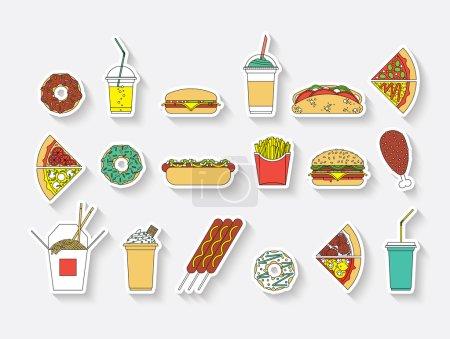 Illustration pour Ensemble vectoriel plat de restauration rapide. Recolor facile . - image libre de droit
