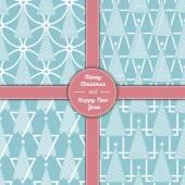 christmas tree pattern set in line art 05