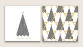 Christmas tree in line art and pattern different stile for postcard poster gifts