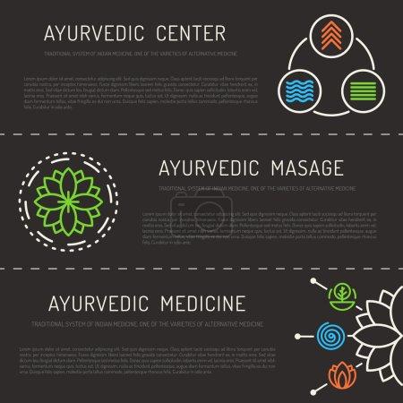 Illustration for Ayurveda vector illustration doshas vata, pitta, kapha. Ayurvedic body types. Ayurvedic infographic. Healthy lifestyle. Harmony with nature. - Royalty Free Image