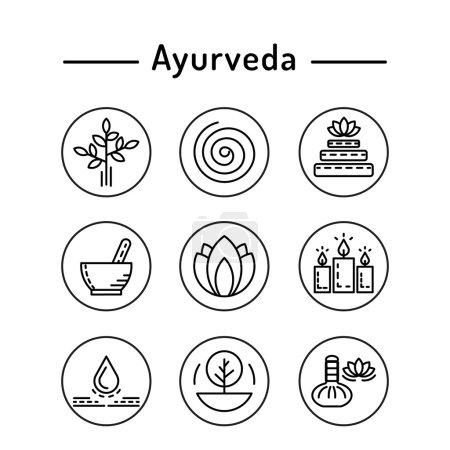 Illustration for Ayurveda vector illustration icon vata, pitta, kapha. Ayurvedic body types. Ayurvedic infographic. Healthy lifestyle. Harmony with nature. - Royalty Free Image