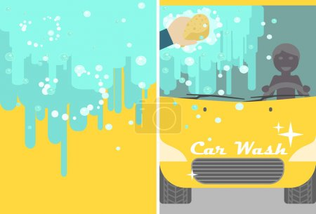 car wash banner for advert. Yellow automobile with water and hand sponge washing. Vehicle cleaning flyer
