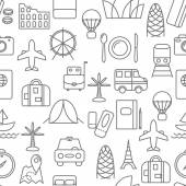 Thin line icons seamless pattern