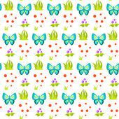 Spring forest butterfly and grass sheaf pattern.