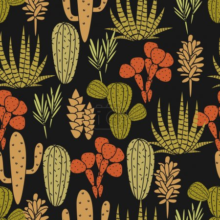 Succulents plant vector seamless pattern. Botanical black and green cactus flora fabric print.