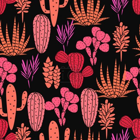 Succulents plant vector seamless pattern. Botanical black and pink rose cactus flora fabric print.