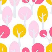 Stylized cartoon tree forest seamless pattern.