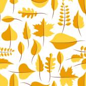 Autumn yellow withered leaves seamless pattern