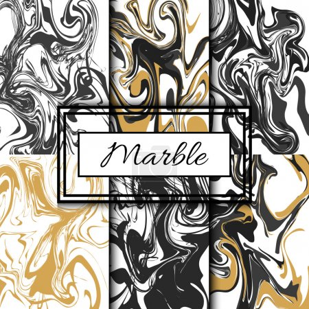 Marble texture vector set. Hand drawn ink marble.