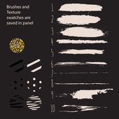 Hand drawn paint brushes and pattern swatches