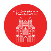 Vienna St Stephens Cathedral vector red circle icon in linear style