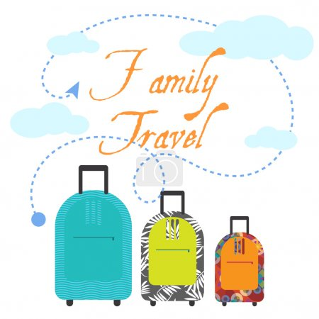 Illustration for Family trip three suitcases for vacation holidays. Travel bags in flat style - Royalty Free Image