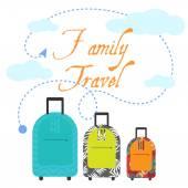 Family travel three suitcases