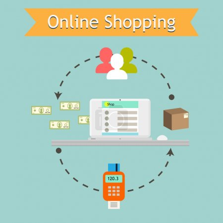 Online shopping illustration. Retail services e-commerce business.