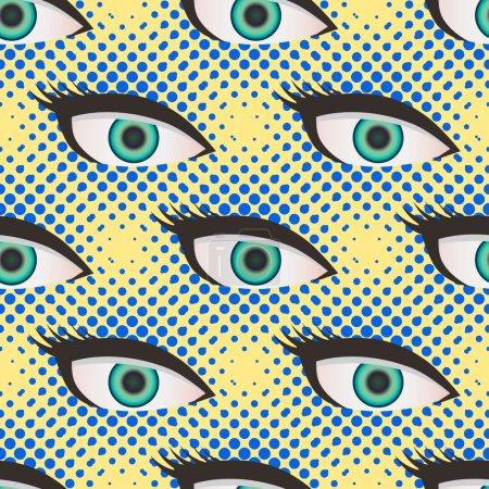 Illustration pour Pop art style demi-ton fermer les yeux modèle. Fond jaune et bleu pointillé - image libre de droit