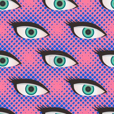 Illustration pour Pop art style demi-ton fermer les yeux modèle. Fond rose et bleu pointillé - image libre de droit