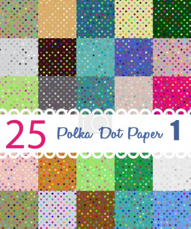 Polka dot paper. Set of 25 seamess patterns