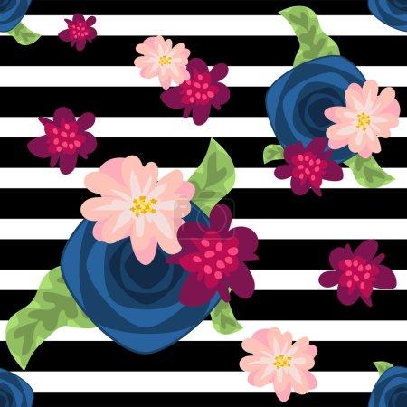 Illustration pour Motif de fleur sur fond noir et blanc rayé. Roses bleues et éléments floraux roses. Conception de tissu textile - image libre de droit