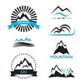Mountain badge vector elements set Logo concepts brand identity stickers