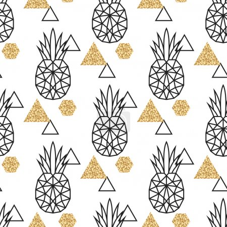 Illustration for Line geometric pineapple and gold shimmer dot shapes seamless vector pattern. Low poly fruit abstract background for print, textile fabric, invitation card and wall decor - Royalty Free Image