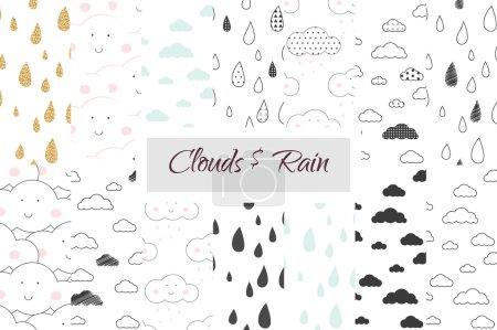 Rain and clouds kids seamless pattern set.