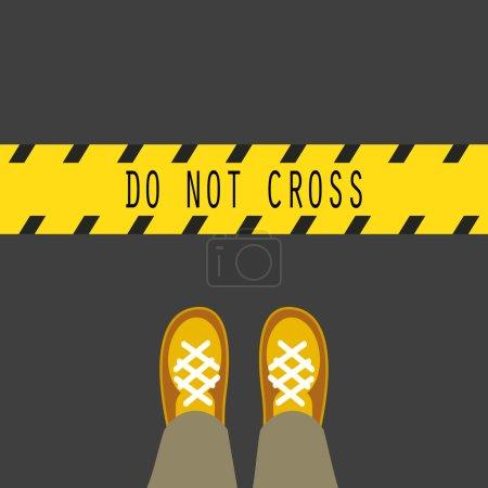 Illustration pour Ne franchissez pas la ligne bande jaune panneau routier. Pieds d'homme debout devant le groupe - image libre de droit