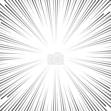 Illustration pour Vitesse de bande dessinée de vecteurs lignes de fond. Explosion d'étoile dans le style manga ou pop art sur blanc - image libre de droit