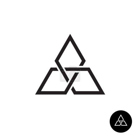 Photo pour Logo de contour de nœuds géométriques triangle. Signe de réseau forme équerre noire. - image libre de droit
