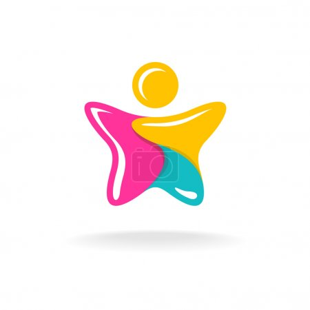 Man in a star shape colorful logo. Color parts with white flash