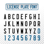 License plate font letters with embosse transparent overlay effe