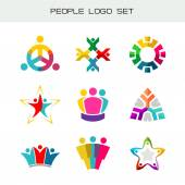 People logo set Group of two three four or five people logos