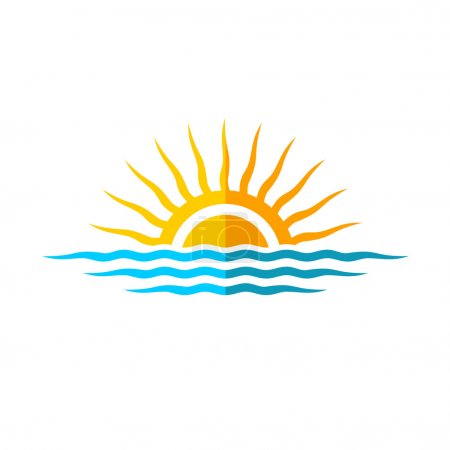 Illustration for Sun with sea waves. Flat style design. - Royalty Free Image