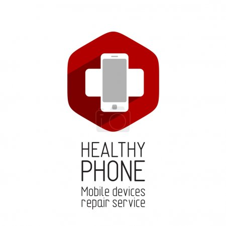Illustration for Phone repair service logo template - Royalty Free Image