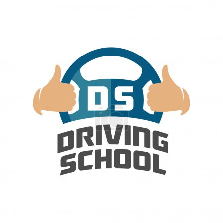 Illustration pour Modèle de logo de l'école de conduite. Queue de direction avec les pouces levés - image libre de droit