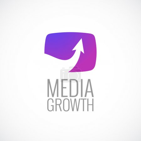 Illustration for TV screen with arrow media logo template. Growth sign. - Royalty Free Image
