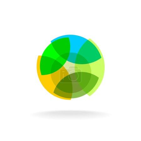 Illustration pour Modèle abstrait de logo naturel de fleur colorée. Forme ronde - image libre de droit