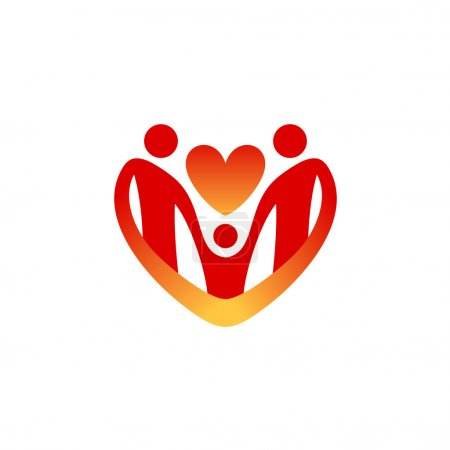Illustration for Child care logo template. Shape of the heart silhouette. - Royalty Free Image