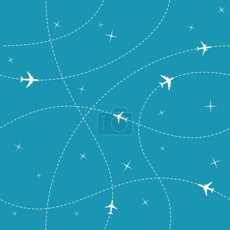 Illustration for Planes with trajectories and stars on the blue sky seamless vector pattern - Royalty Free Image