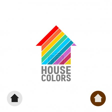 Illustration for House silhouette with colorful paint stripes logo template. - Royalty Free Image