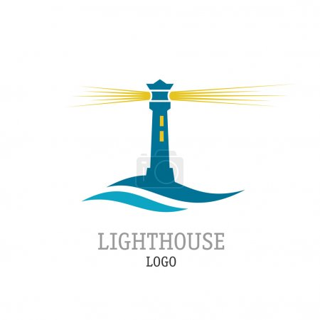 Lighthouse with waves simple logo