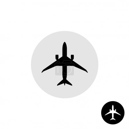 Photo for Airplane flight black vector icon. Single silhouette of a passenger plane top view on white background - Royalty Free Image